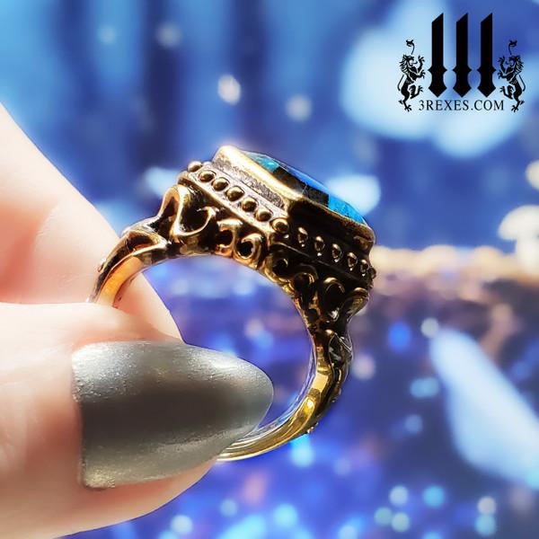 bronze medieval wedding ring for women, alt promise bands