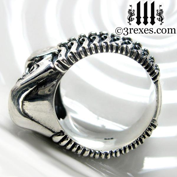 silver skull biker ring .925 sterling bottom jaw view