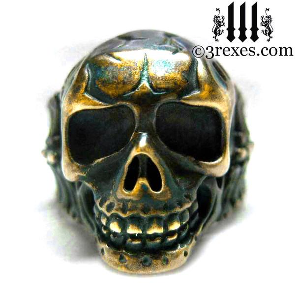 bronze biker skull ring for men