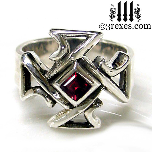 silver celtic cross ring with garnet mens medieval gothic band knights templar masonic jewelry