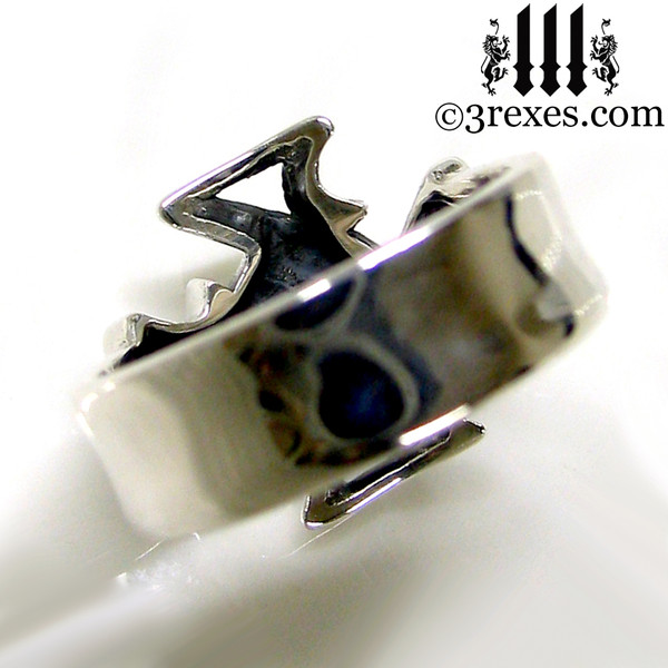 """silver celtic cross ring with 1/4"""" silver band mens medieval gothic band knights templar masonic jewelry"""