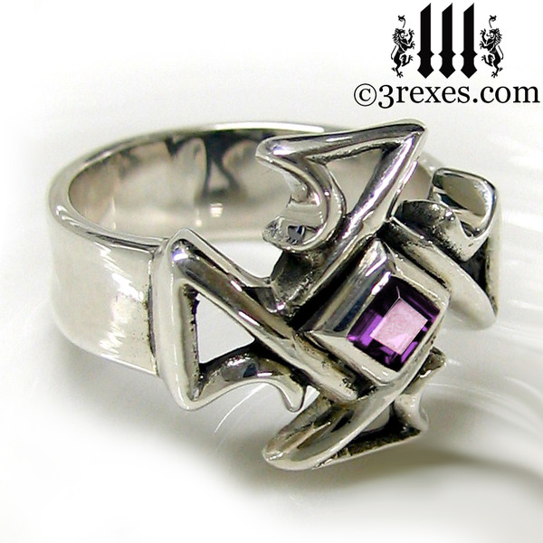 silver celtic cross ring with amethyst mens medieval gothic band knights templar masonic jewelry