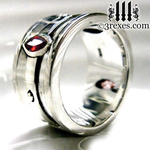 moorish marquise gothic wedding ring with garnet stones