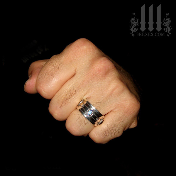 moorish marquise gothic wedding ring, men's silver band, medieval jewelry for him