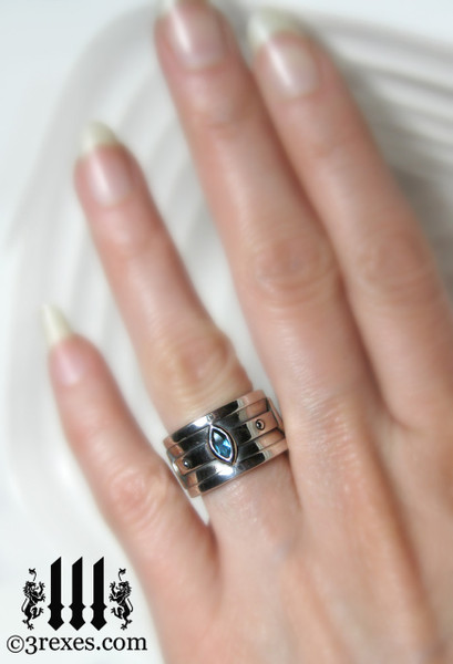 moorish marquise gothic wedding ring on woman's ring finger