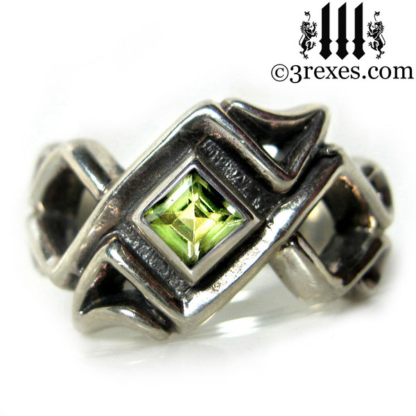 celtic ring with peridot stone .925 sterling silver gothic mens medieval wedding band