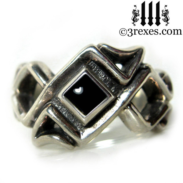 mens celtic ring with black onyx cabochon stone .925 sterling silver gothic mens medieval wedding band, dark jewellery