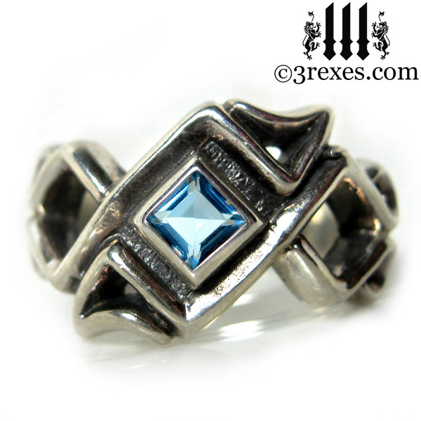 blue topaz celtic knot ring .925 sterling silver gothic mens medieval wedding band