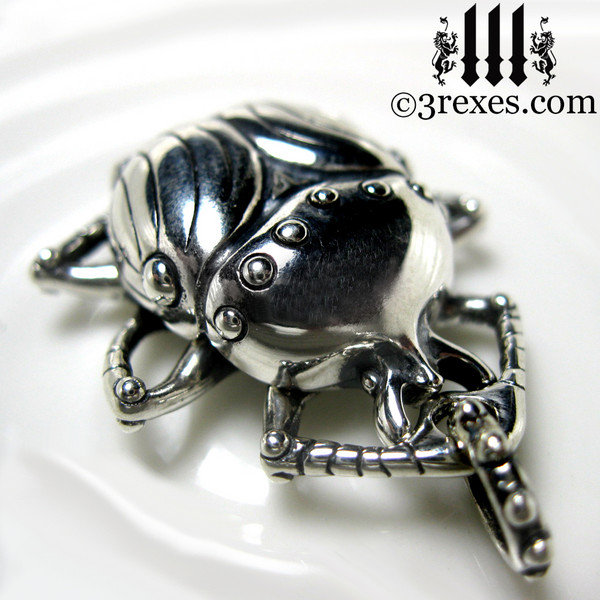 egyptian scarab necklace .925 sterling silver steampunk charm bug insect jewelry pagan beetle jewelry 3 rexes designer