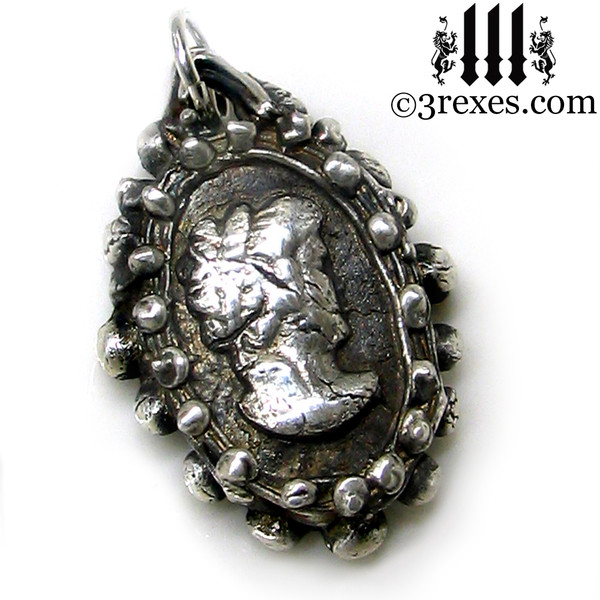 silver ghost cameo necklace detail one of a kind haunted jewelry