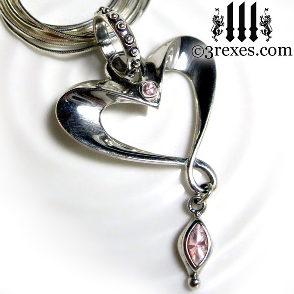 eros heart necklace long snake chain with pink cz detail