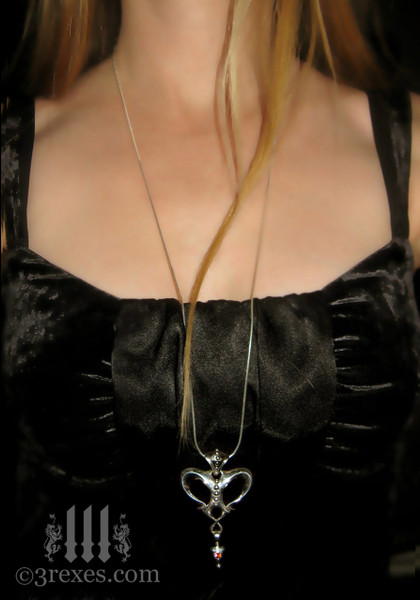 """queen of hearts gothic crown necklace on 30"""" snake chain"""