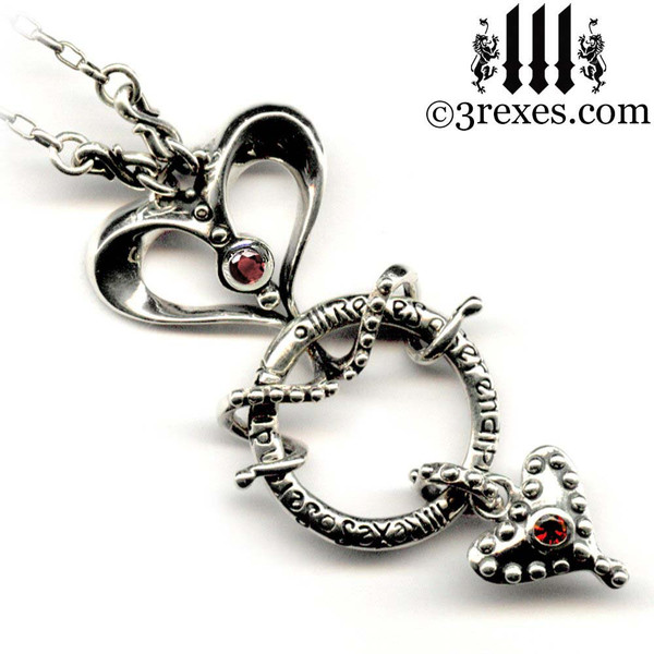 serendipity fairy tale gothic heart necklace .925 silver with garnet medieval jewelry