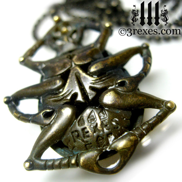 scarab egyptian beetle necklace dark brass belly view