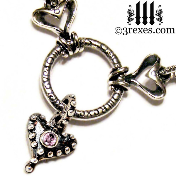 gothic heart necklace .925 sterling silver fairy tale choker with studded hearts and pink cz stone
