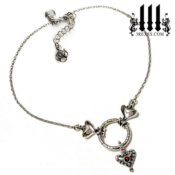 .925 sterling silver fairy tale gothic choker with studded hearts and red garnet stone - full detail