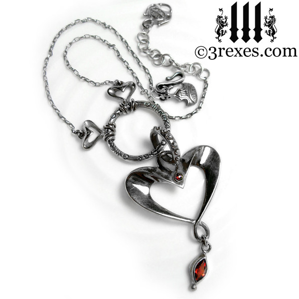 .925 sterling silver heart necklace with garnet stones