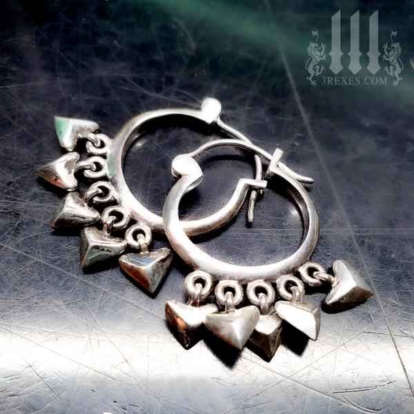 silver heart earrings charm hoops .925 sterling silver
