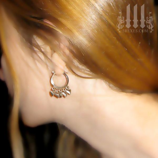 heart charm hoops .925 sterling silver earrings model