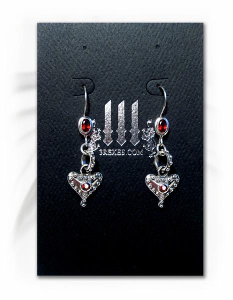 .925 silver gothic heart earrings on 3 rexes earring card