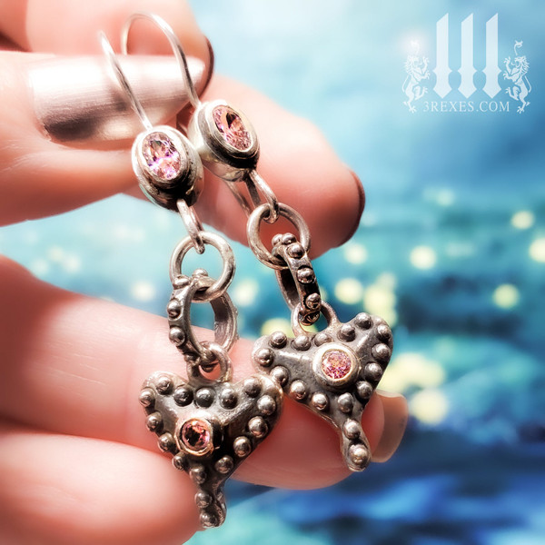 silver heart earrings, a gift for her, pretty pink stones