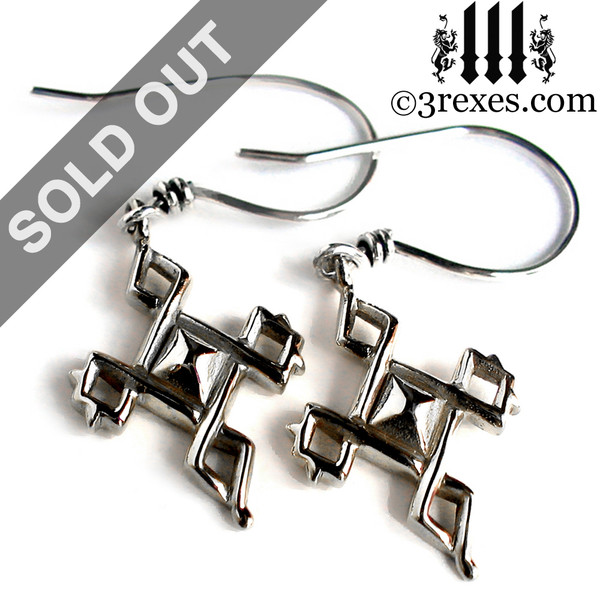 Silver Celtic Cross Charm Earrings