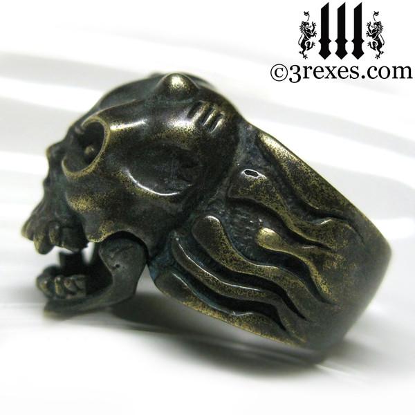 brass gargoyle devil ring side detail open jaw
