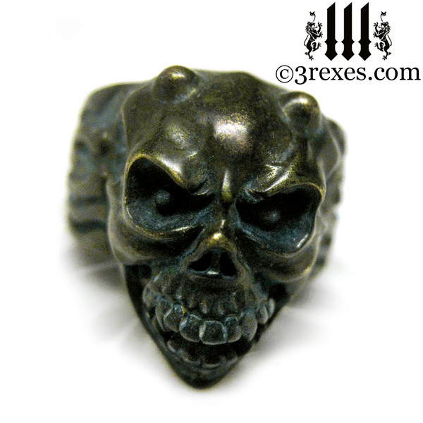 brass gargoyle devil ring with movable jaw