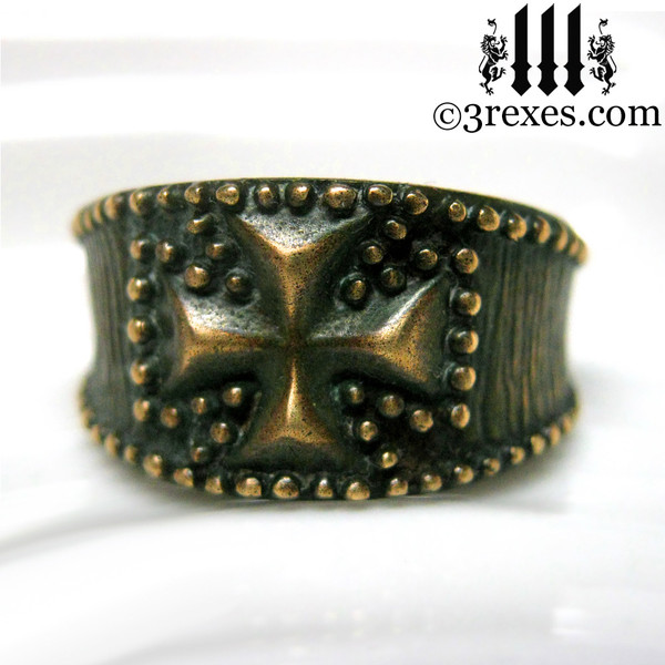 rustic bronze studded iron cross ring for men
