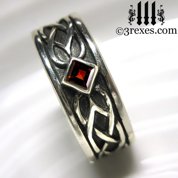 925 sterling silver celtic knot soul ring with red garnet stone mens medieval wedding ring