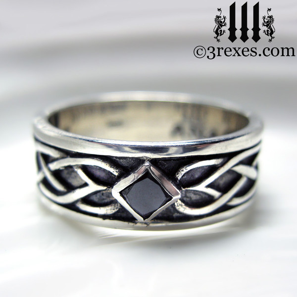 mens black diamond celtic knot wedding ring mens medieval wedding ring, lgbtq alt unisex designs