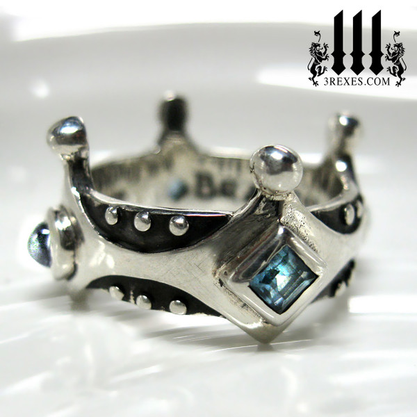 girls gothic wedding ring, medieval crown ring with blue topaz, .925 sterling silver brandy wine band with studs, princess stones