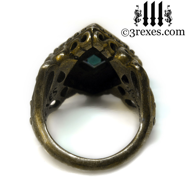 raven love antiqued brass wedding ring with blue copper turquoise back detail