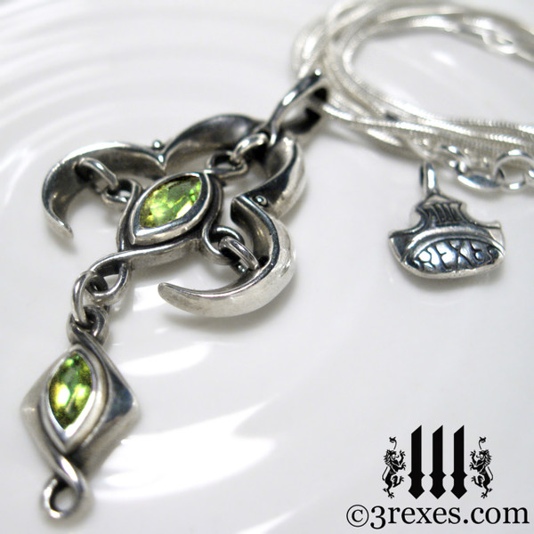 moorish marquise silver cross necklace with green peridot stones renaissance gothic medieval jewelry
