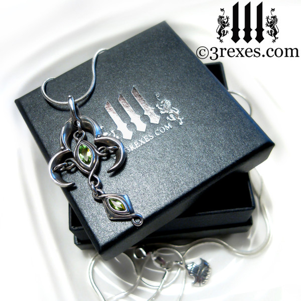 3 rexes gift box moorish marquise silver cross necklace with green peridot stones renaissance gothic medieval jewelry