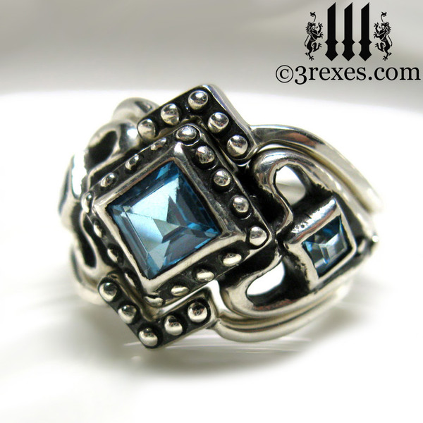 princess love gothic engagement ring with 2 stacking v rings ladies silver wedding ring womans medieval engagement band with magical blue topaz princess love ring wicca jewelry
