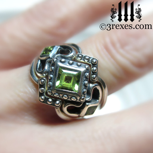 princess love gothic engagement ring with 2 stacking rings ladies silver wedding ring womans medieval engagement band with magical august birthstone green peridot princess love ring wicca jewelry