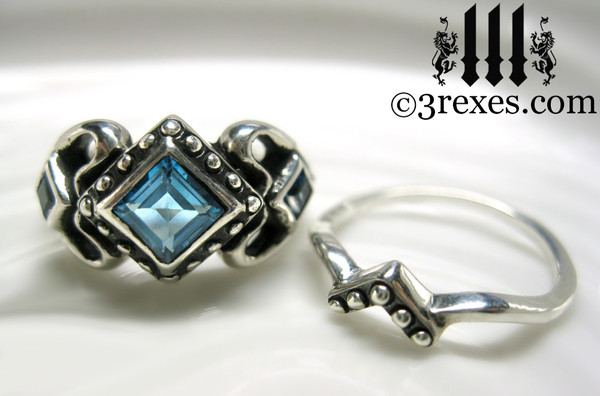 princess love gothic engagement ring with 1 stacking rings ladies silver wedding ring womans medieval engagement band with magical birthstone blue topaz princess love ring wicca jewelry