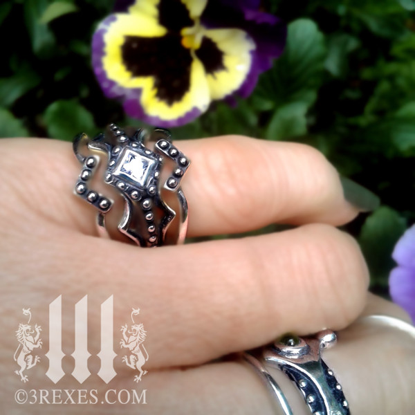 silver love v ring worn as a stacking ring with the Fairy Princess ring, gothic fashion, goth band, fairytale jewelry, forest promise rings