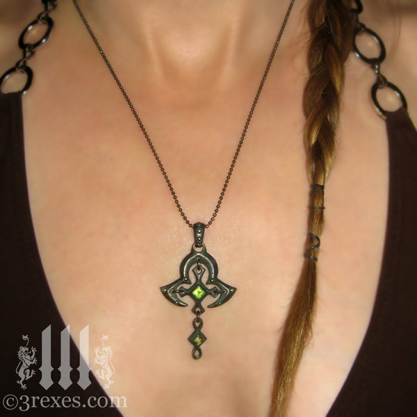 moorish princess dark brass cross necklace with gothic green peridot model