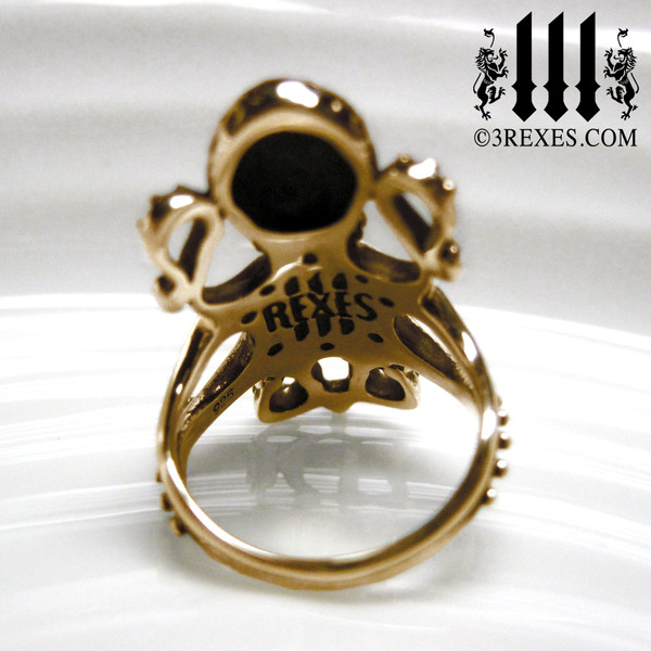 Bronze Octopus ring. Enchanted steampunk jewelry, back detail