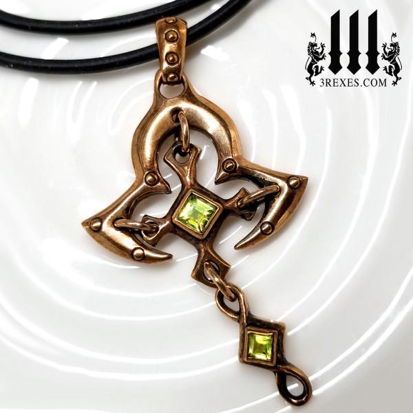 Bronze Moorish Princess Cross Necklace | Historic Gothic Pendant with green peridot Semi Precious Stones. and rubber choker