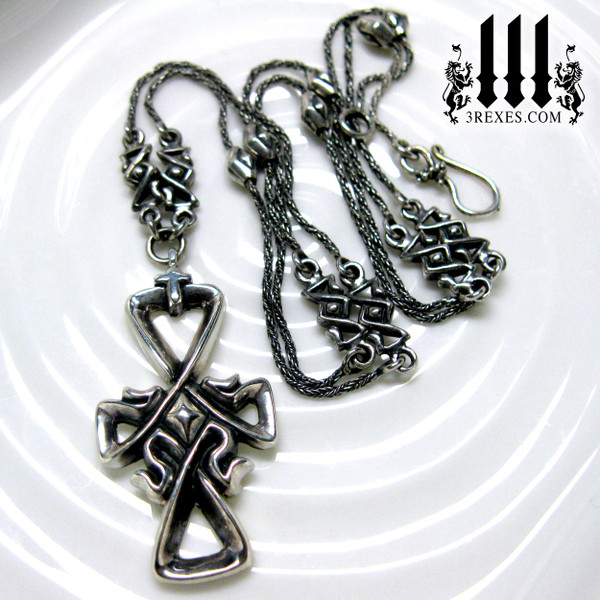 gothic cross bohemian charm necklace unisex .925 sterling silver jewelry medieval unisex design unique woven chain