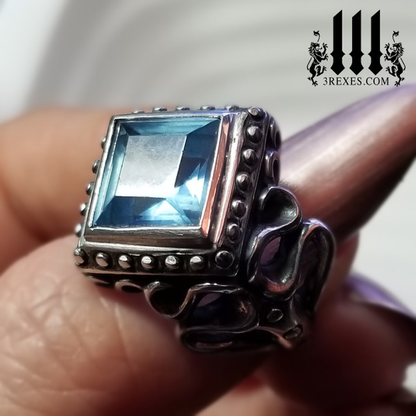 raven love ring blue topaz stone .925 sterling silver gothic fairytale ring