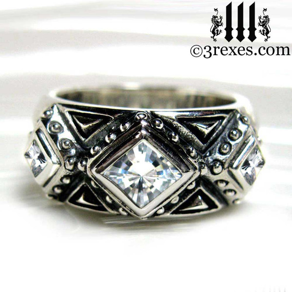 white stone ring for men, silver gothic wedding ring, .925 sterling silver 3 kings band ring, Medieval engagement  crown, dark ages jewellery, pagan couple, wicca, christian love, middle ages, history, historical, spiritual, 3 rexes jewelry, unique band for guys