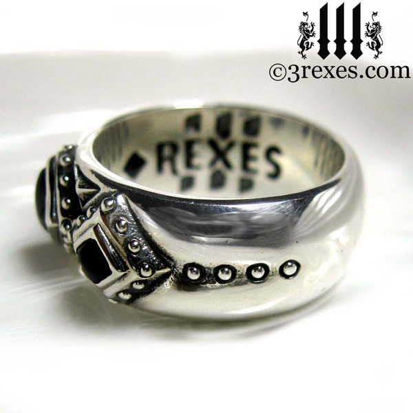 side view 3 kings band ring, Medieval engagement  crown, dark ages jewelry, pagan ring, wicca, christian, middle ages, history, historical, spiritual, 3 rexes jewelry, unique jewellery designs