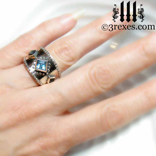 silver medieval wedding ring model view