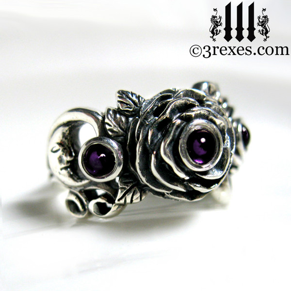 gothic silver rose moon spider ring with amethyst cabochon stone womans wedding ring
