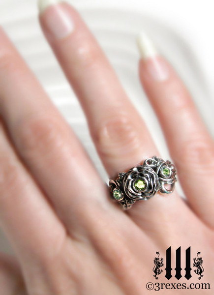 gothic silver rose moon spider ring model view womans wedding ring