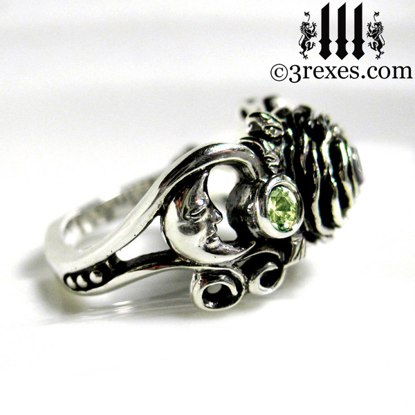gothic silver rose moon spider ring - moon view womans wedding ring